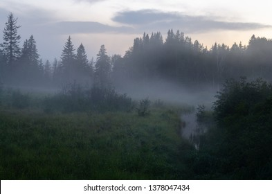Summer mist forms on a tranquil meadow  around sunset in New Brunswick, Canada