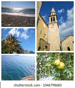 Summer Montenegro. A collage of photos with views of the Adriatic Sea and golden Budva