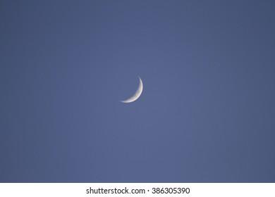 summer moon crescent on blue sky