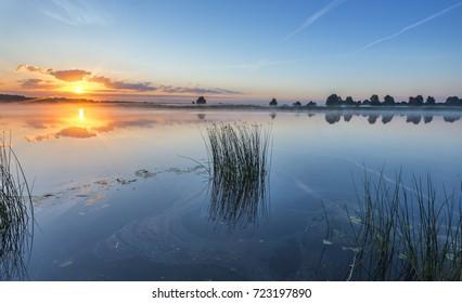 Summer morning at a big river, Europe. Summer holiday and vacation concept