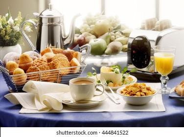 summer morning breakfast on table