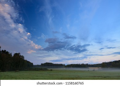 Summer morning at countryside field in Finland
