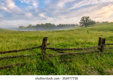 Summer morning and field along the Blue Ridge Parkway in North Carolina