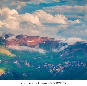 Summer morning view of Grossglockner mountain range from Grossglockner High Alpine Road. Colorful sunset in Austrian Alps, Zell am See district, state of Salzburg in Austria, Europe.
