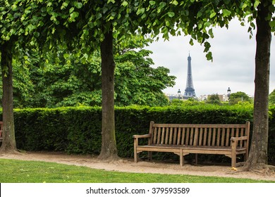 Summer morning view of Tuilleries garden in Paris, France.