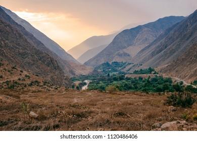 Summer mountain landscape in Antioquia, Huarochiri, Peru.