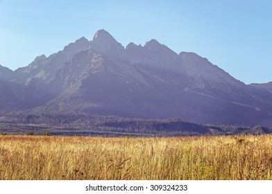 Summer mountain landscape. Beautiful view on the High Tatra Mountains, Slovakia.