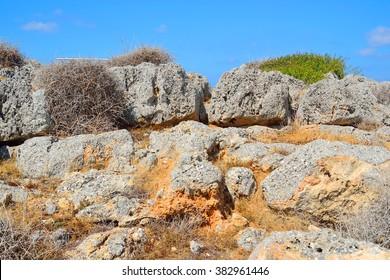 Summer mountain landscape with big rocks in Crete, Greece.
