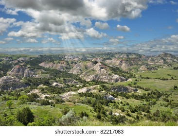 Summer mountain landscape of Painted Canyon in North Dakota, USA