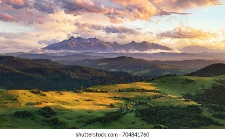 Summer mountain landscape in Slovakia