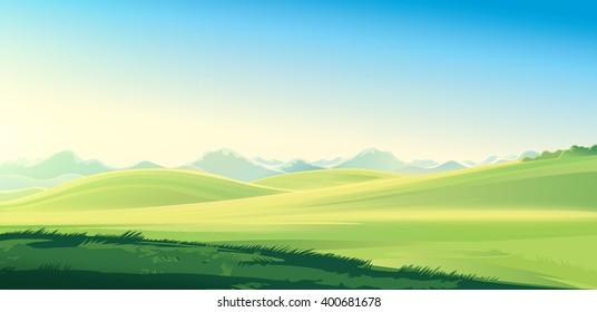 Summer mountain rural landscape. Raster illustration.