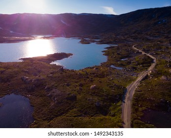 Summer mountains landscape in Norway. National tourist scenic route 55 Sognefjellet. Aerial view