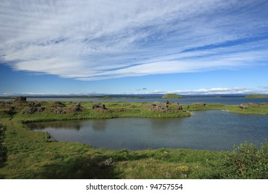 Summer at Myvatn Lake in northern Iceland