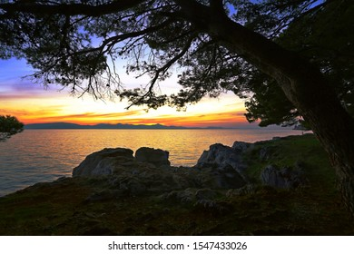 summer nature image with stones on coast, backgrond evening sunset, gold yellow sunlight and Adriatic sea,  magnificent twilight seascape, location Croatia, Zadar, Europe