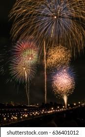 Summer night fireworks festival in Tokyo