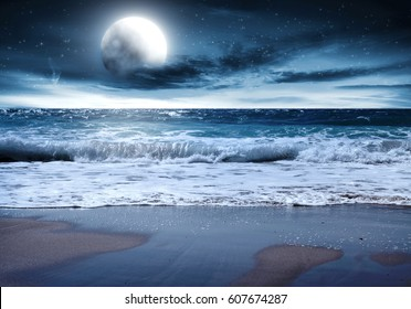 summer night and landscape of beach