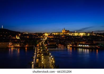 Summer night in Prague, Czech Republic