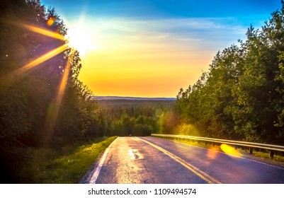 Summer night road view from Sotkamo, Finland.