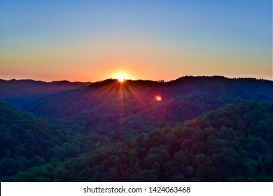 Summer night sunset over Red River Gorge in Kentucky