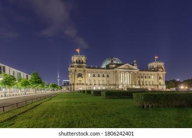 Summer night view of Bundestag Reichstag building in Berlin, Germany