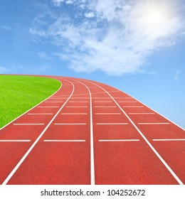 Summer olympics template from running track and sky