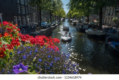 Summer on the Amsterdam canals, Netherlands
