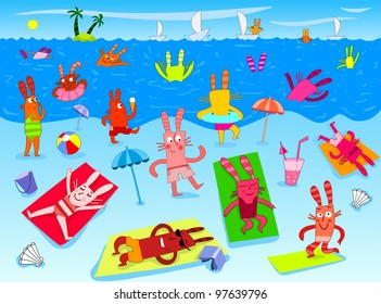 Summer on the beach with funny bunnies - raster