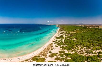 Summer on Majorca Es Trenc ses Arenes beach in Balearic Islands, Spain, July 2020