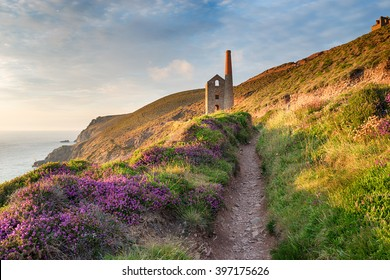 Summer on the South West Coast Path at Wheal Coates as it approaches St Agnes Head on the Cornwall coast