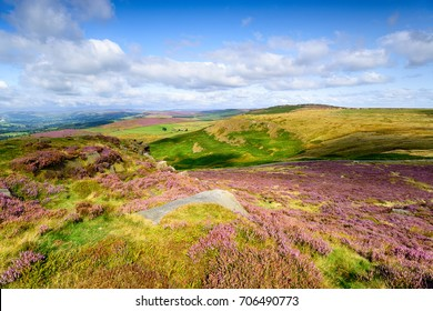 Summer on the top of Higger Tor near Sheffield in the Derbyshire Peak District, looking over to Callow Bank