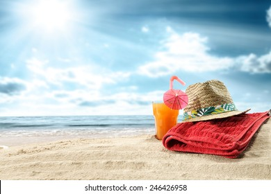 summer orange juice and towel of red