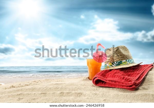 summer orange juice and towel of red