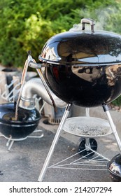 Summer outdoor cooking on barbecue grill.