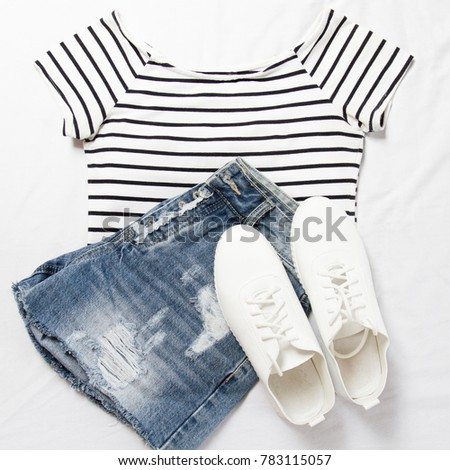 1cb145c3c0c5 Summer Outfit Striped Tshirt Denim Shorts Stock Photo (Edit Now ...