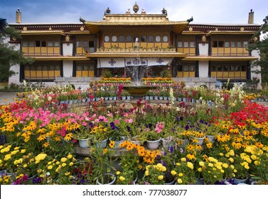 The Summer Palace of the Dali Lama in the Norbulingka in Lhasa in Tibet Autonomous region of China.