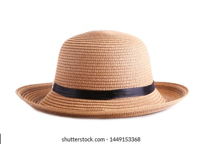 Summer panama straw hat isolated on white background, cut out