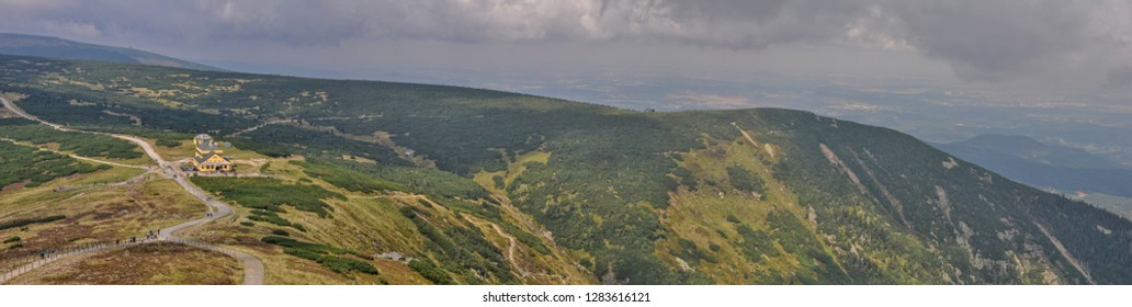 Summer panorama of Śnieżka (Sněžka) 1603 m above sea level Karkonosze National Park