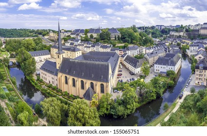 Summer panorama of Abbey de Neumunster in Luxembourg City