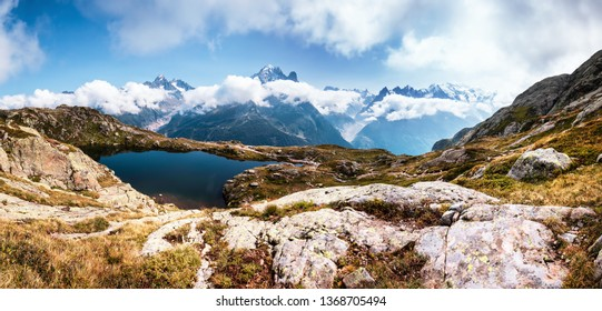 Summer panorama of the Lac Blanc lake with Mont Blanc (Monte Bianco) on background, Chamonix location. Beautiful outdoor scene in Vallon de Berard Nature Reserve, Graian Alps, France, Europe.