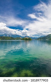 Summer panorama of Lake Bled with church island Slovenia
