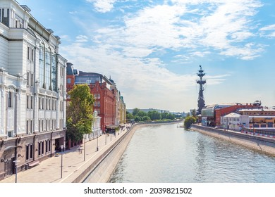 Summer panorama of Moscow with blue cloudy sky