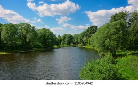 Summer. Panorama of the natural landscape. The bend of the Moscow-river  in the town of Zhukovsky near Moscow. Russia
