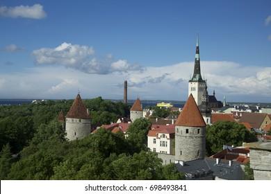 Summer panorama of Old Town, Tallinn, Estonia