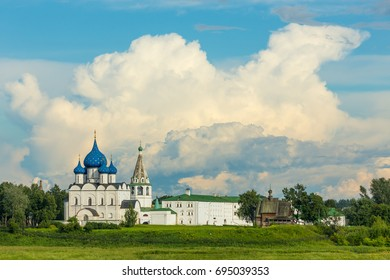 Summer panorama of the Suzdal Kremlin with beautiful clouds. Suzdal is a small town, included in the tourist route called the Golden ring of Russia.