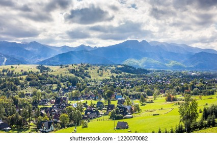 Summer panorama of Tatry Mountains and Mount Giewont, surroundings of Zakopane city, Southern Poland