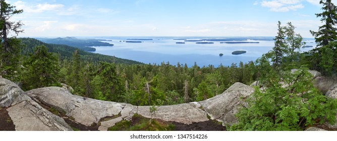 Summer panorama view over the lake Pielinen from the top of the Ukko-Koli, a fell at the Koli national park in Joensuu, Finland, the land of a thousand lakes.
