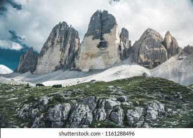 Summer panorama view of Three Peaks - Tre Cime di Lavaredo Massive Rock, Sexten Dolomites, South Tyrol. Dolomite Alps, Italy