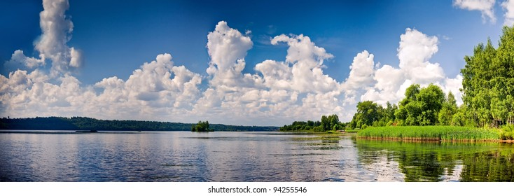 Summer panoramic landscape with Volga-river