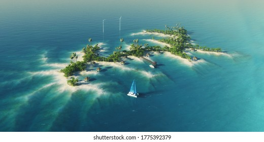 Summer paradise tropical private island with wind turbines energy, bungalows, palm trees. View from above. Luxury life concept. Traveling holiday background. 3d rendering illustration