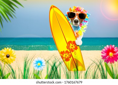summer paradise vacation surfer jack russell dog with surfboard and sunglasses isolated on white background, flowers and palms on the beach